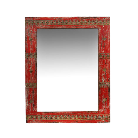 Distressed Red Mirror