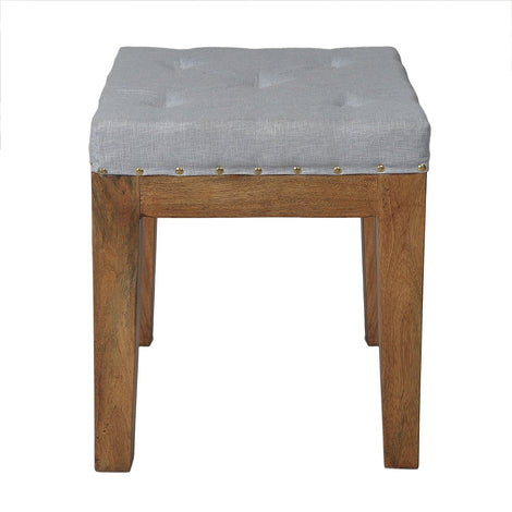 Linen Upholstered Sitting Stool