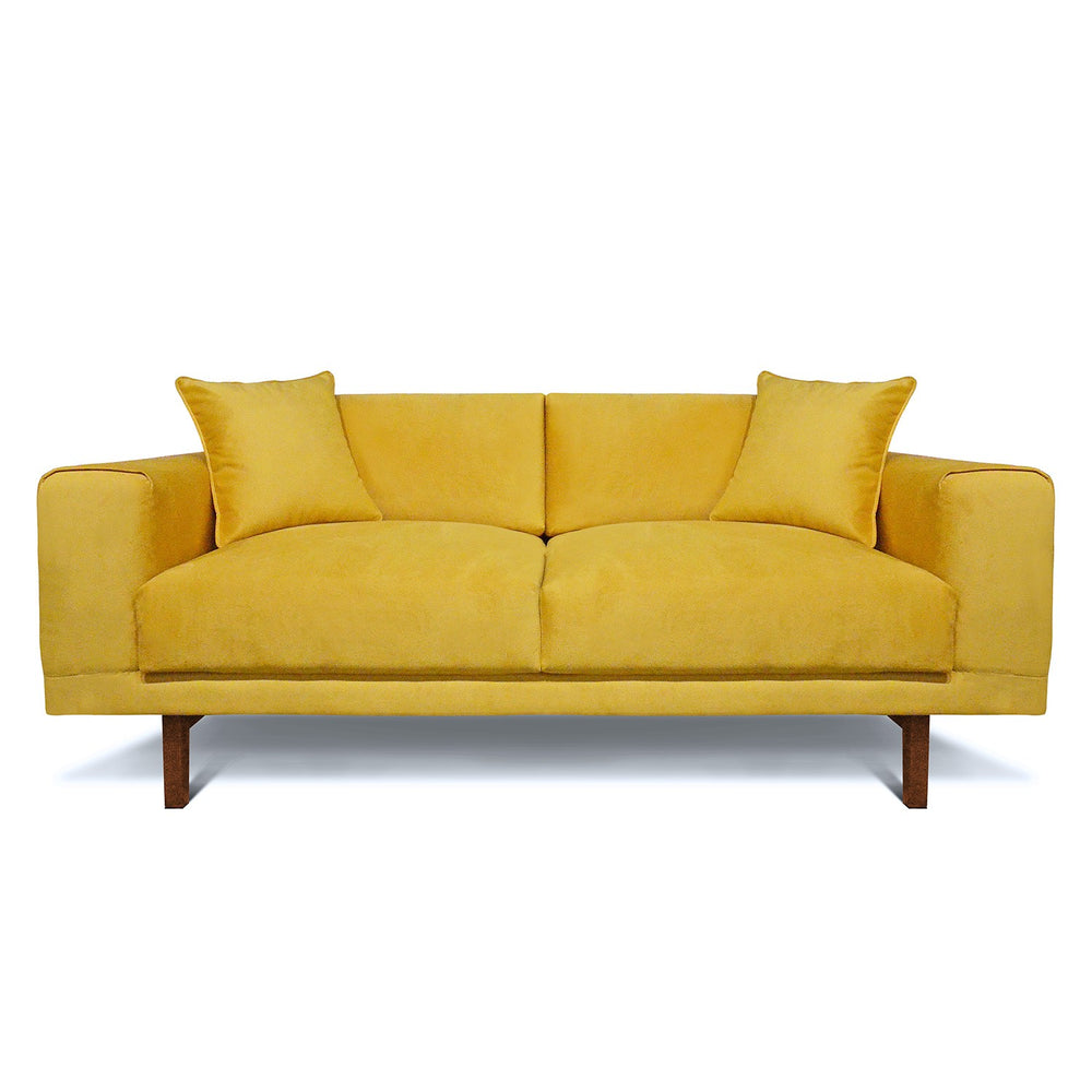 Modern Wide Arm Sofa: Canary Yellow