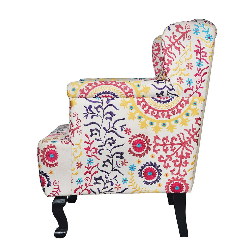 Embroidered Wing Chair