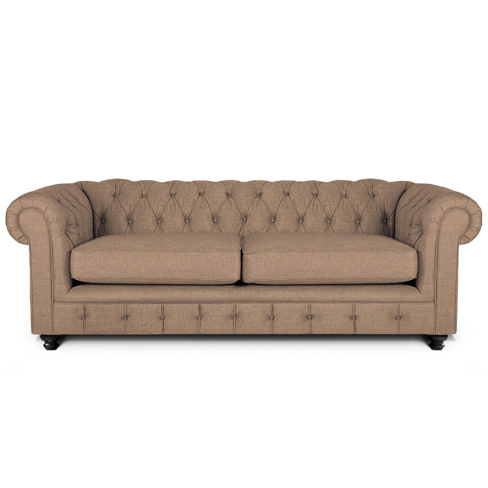 Rathburn Chesterfield 3 Seater Sofa: Beige, Fabric