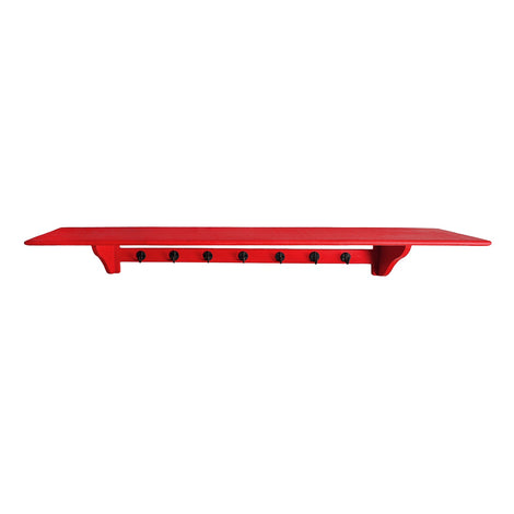 Red Shelf With Hooks