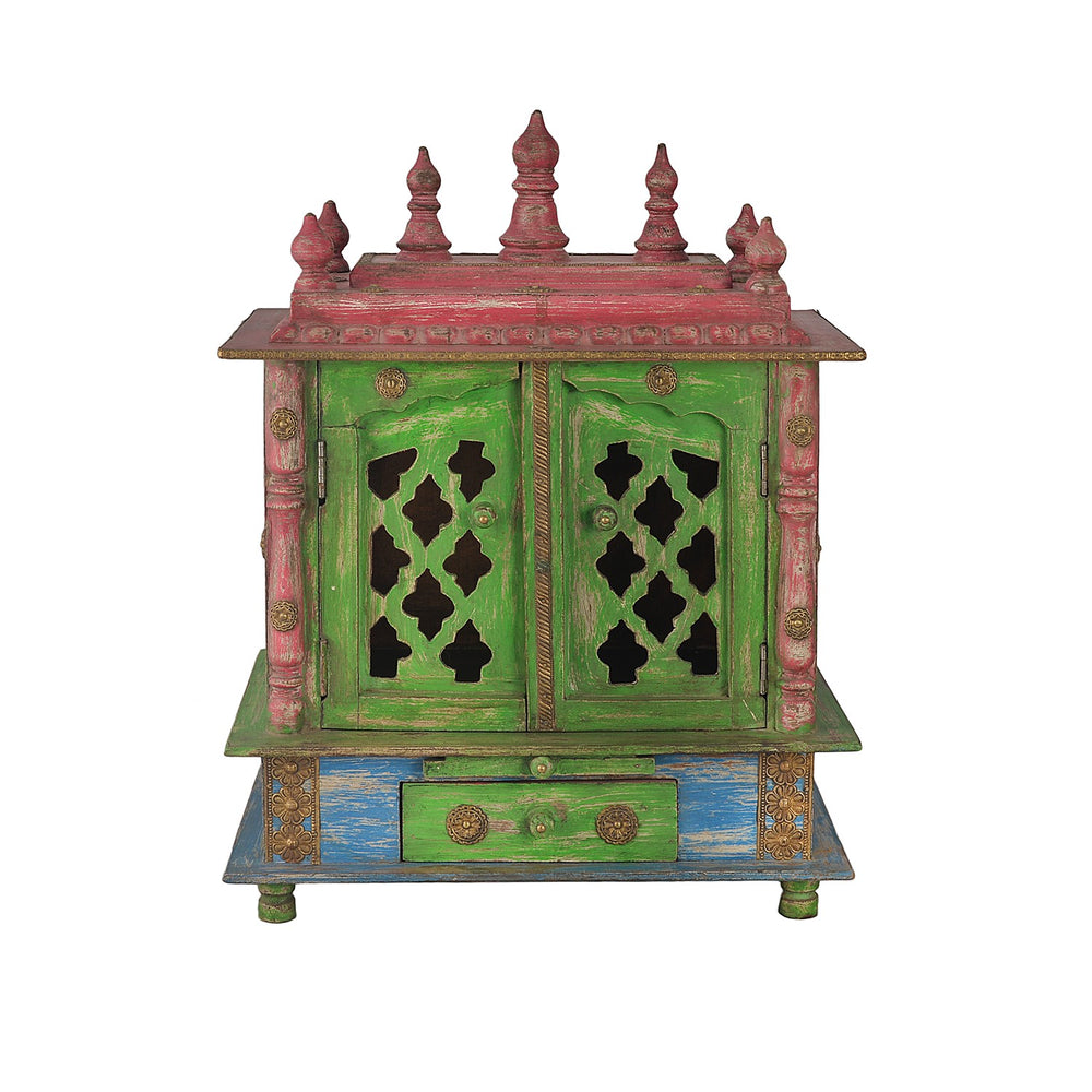 Green Wooden Temple With Doors And 1 Drawer