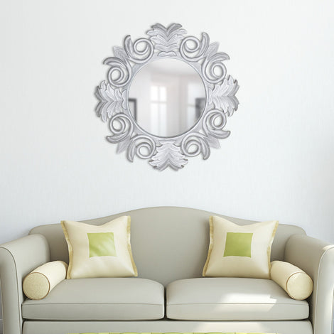 Carved Floral Mirror: Silver