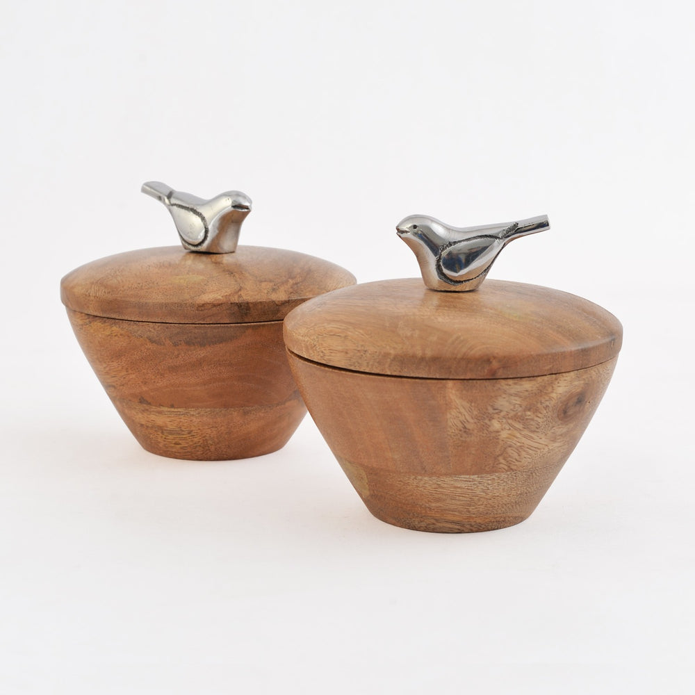 Wooden Bird Bowls With Lid