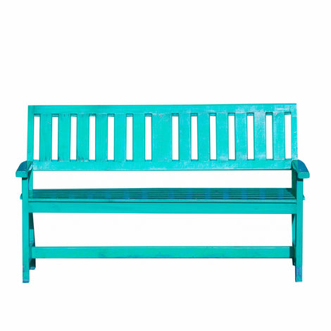Slatted Back Bench: Turquoise