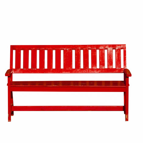 Slatted Back Bench: Red