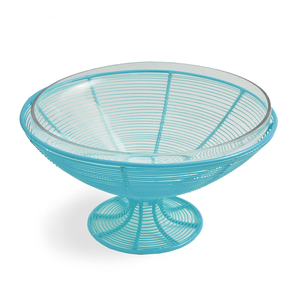 Fruit Bowl With Glass: Light Blue