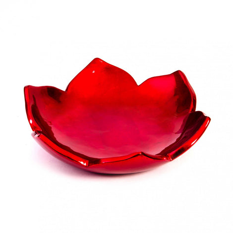 Lotus Serving Bowl: Lustrous Red