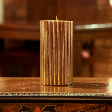 Antique Golden Ribbed Candle, 8 X 4