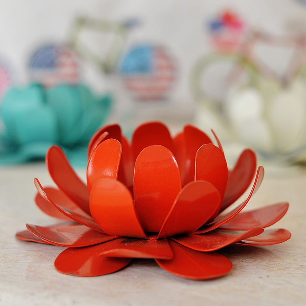 Flower Tea Light Holder: Red, Powder Coated
