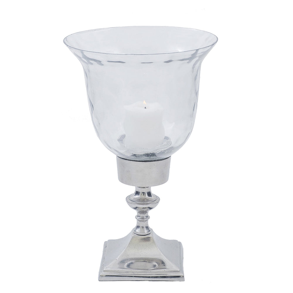 Clear Diamond Glass Hurricane Candle Holder