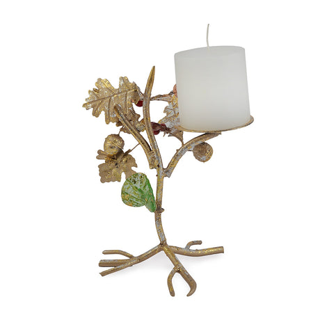 Antique Gold Foliage Candle Stand, Single