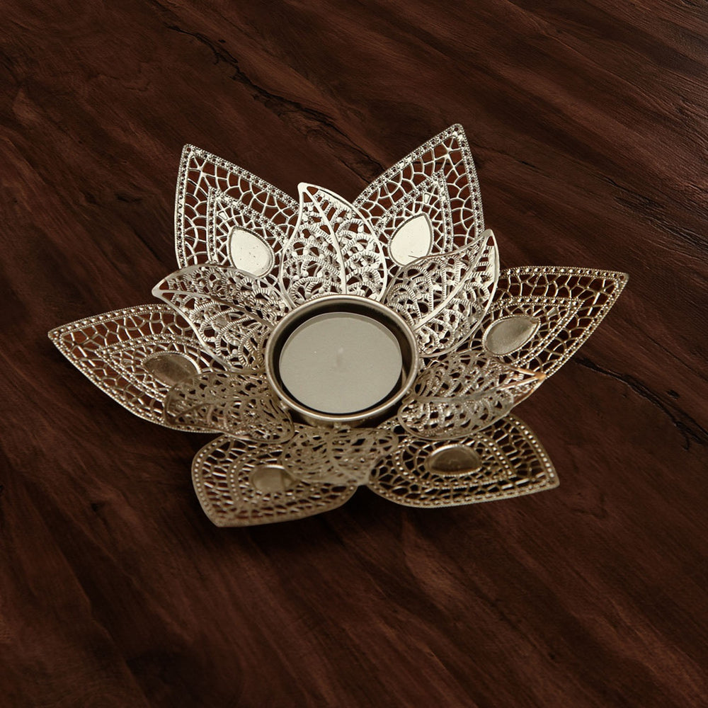 Silver Flower Tea Light Holder, Small