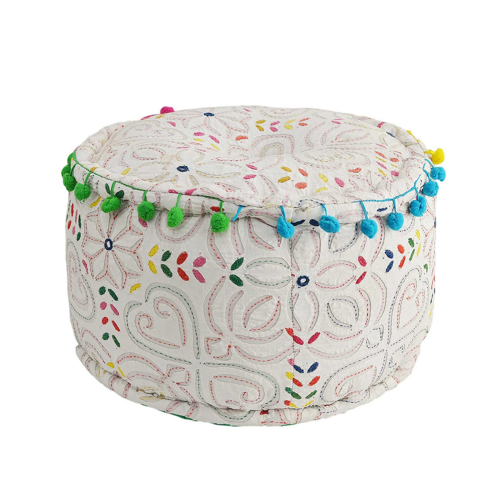 Cotton Pouffe: White
