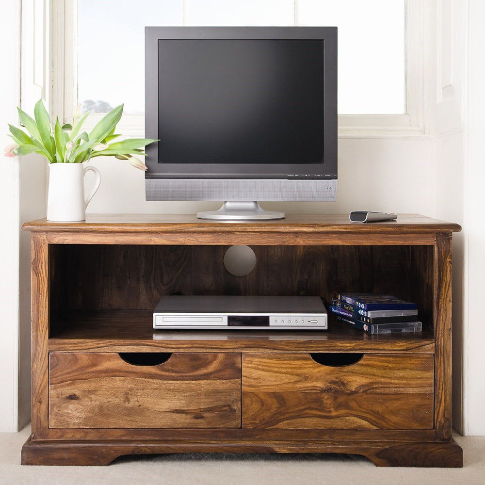 Sheesham Wood Plasma TV Stand With 2 Drawers