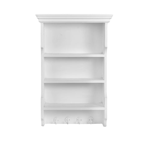 Wall Shelf With 4 Hooks: White