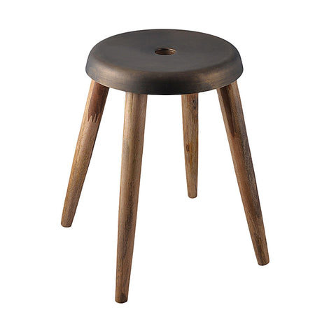 Round Metal & Wood Stool