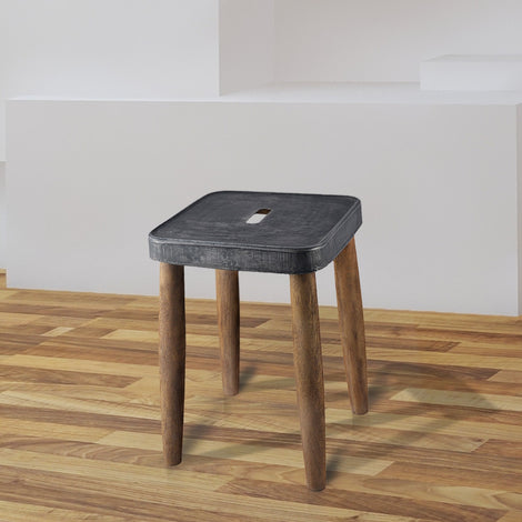 Square Stool With Metal Top