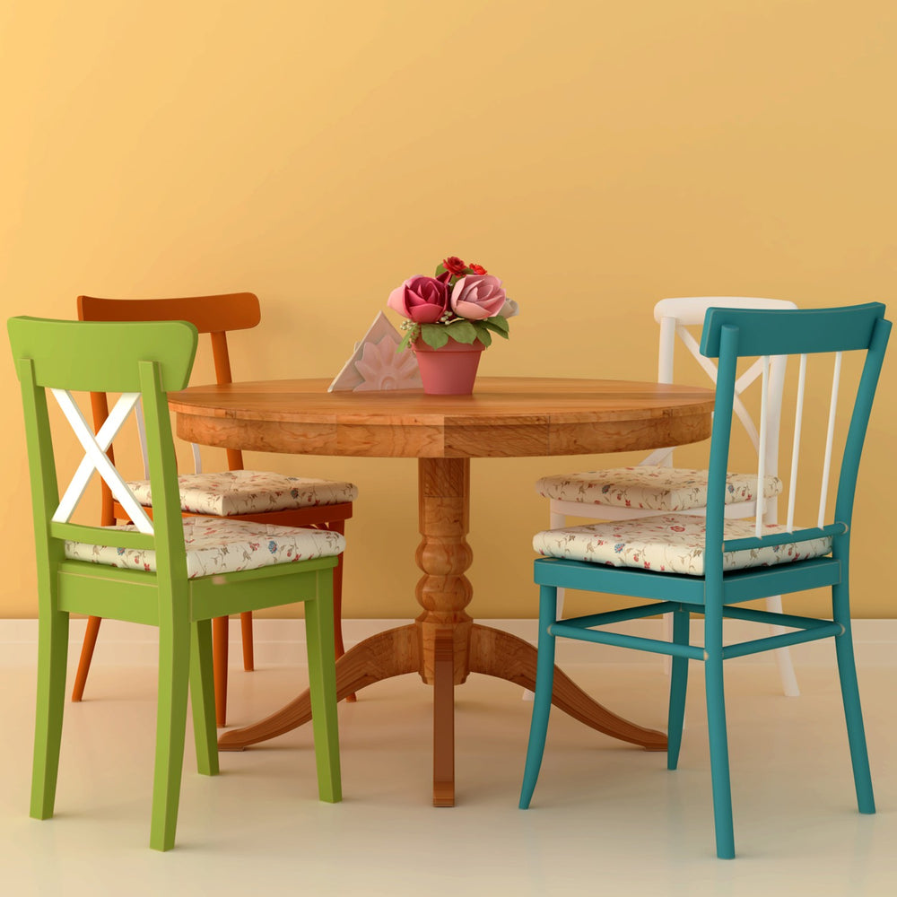 Round Dining Table With Colorful Chairs