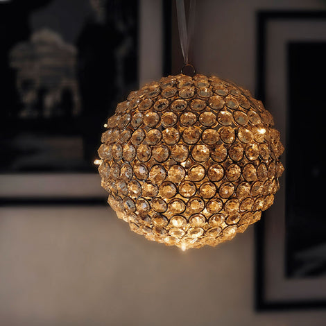 Beaded Crystal Ball With Fairy Lights: Gold