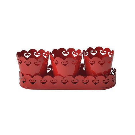 Planters With Tray: Red