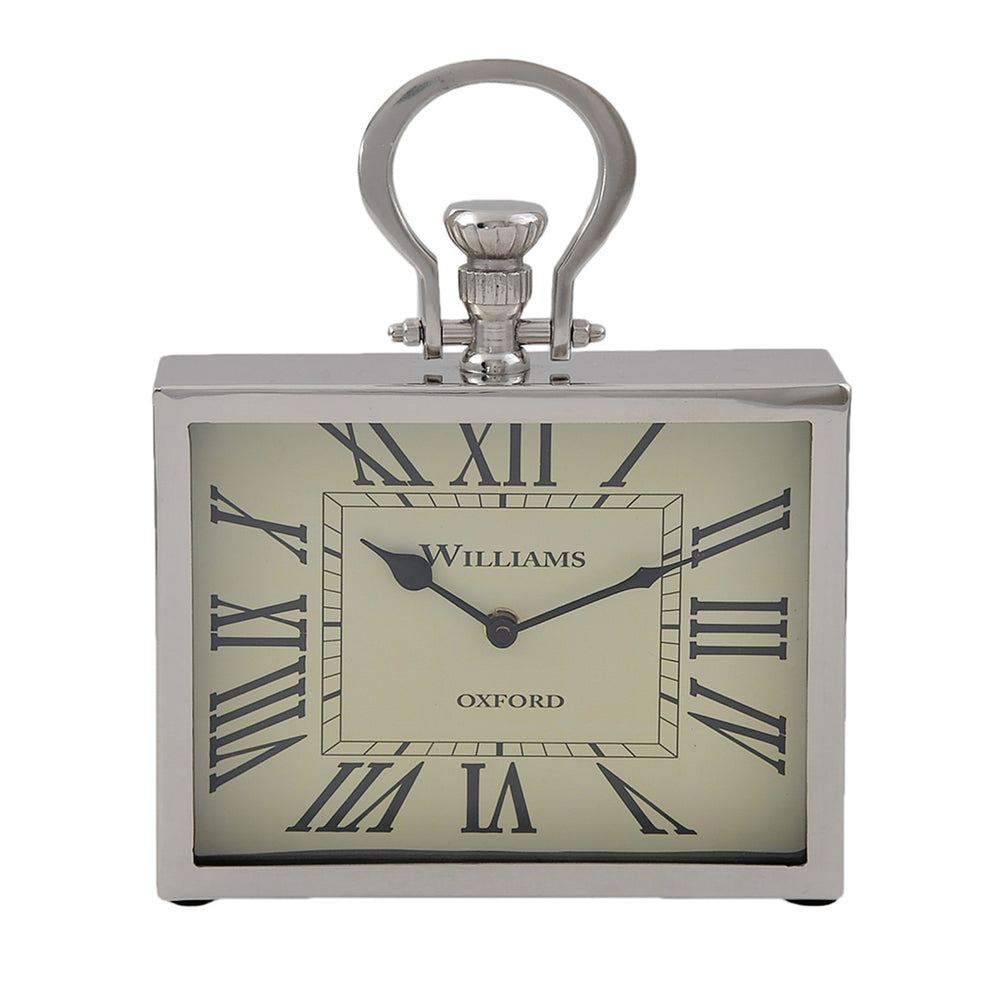 Rectangular Desk Clock: Silver