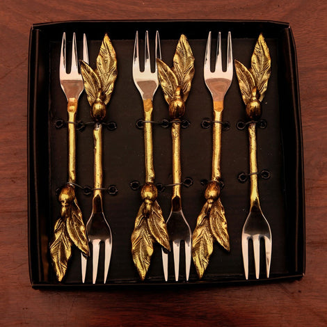 Gold Twig & Leaf Forks (Set Of 6)