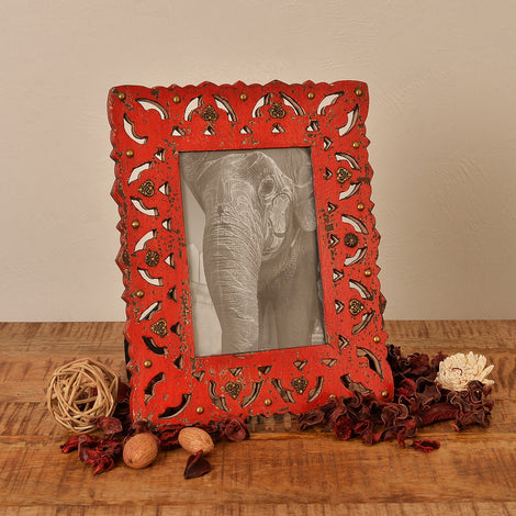 Distressed Red Photo Frame, 5 X 7