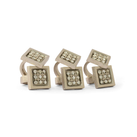 Bejeweled Square Napkin Ring (Set Of 6)