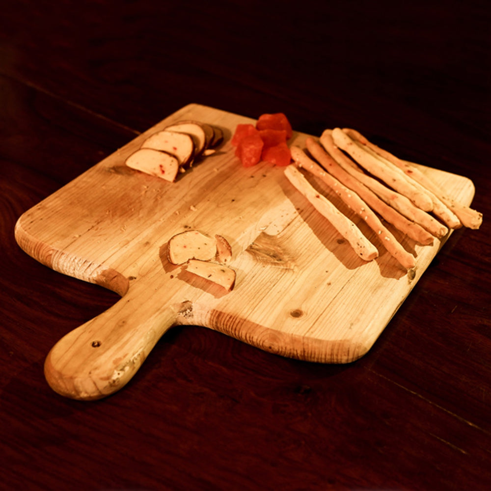 Rubberwood Square Platter With Handle