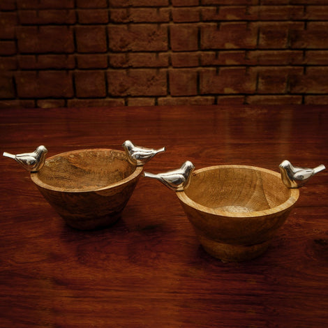 Wooden Bowl With Metal Bird (Set Of 2)
