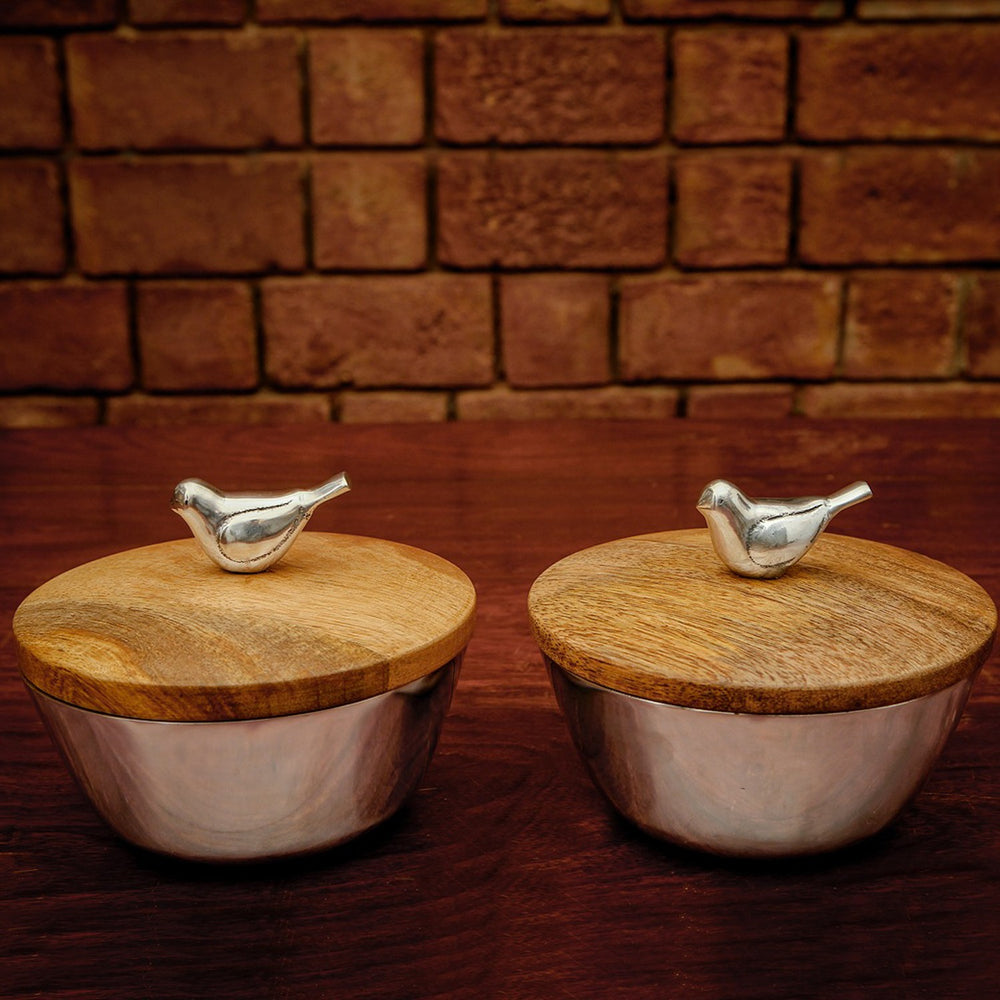 Bird Bowls With Lid (Set Of 2)