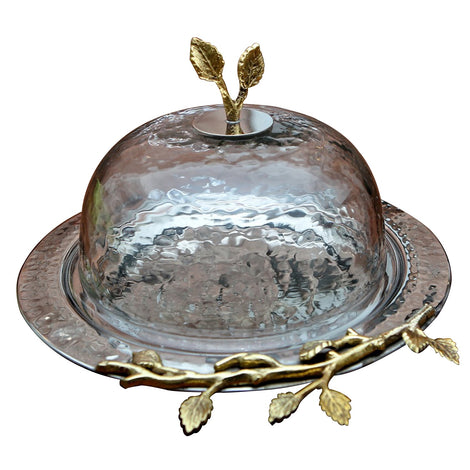 Cake Plate With Lid: Silver & Gold