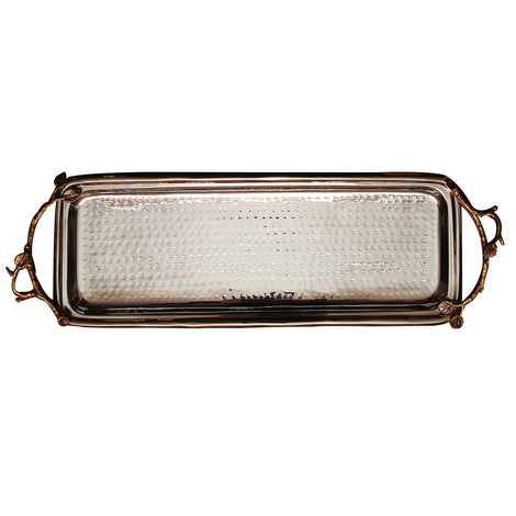 Stainless Steel Rectangular Tray With Gold Handle