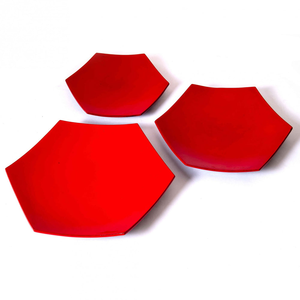 Red Hexagonal Bamboo Serving Platter (Set Of 3)