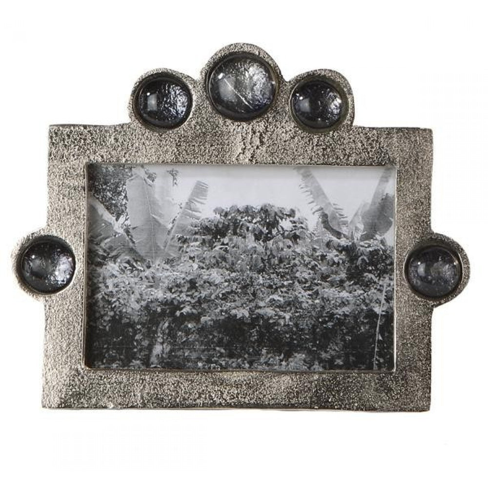 Aluminium Silver Photo Frame With Smoked Glass Beads, 4 X 6