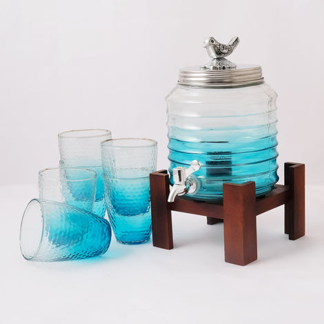 Blue Dispenser With Glasses (4.5 Ltrs)