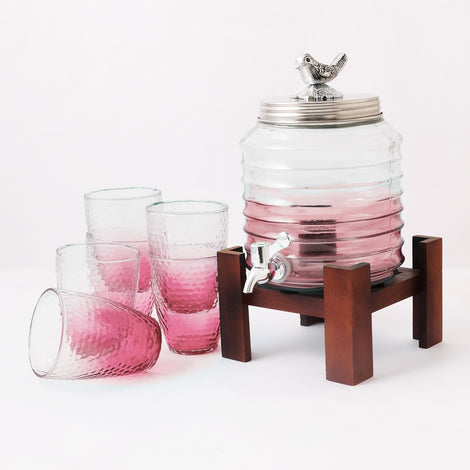 Pink Dispenser With Glasses (4.5 Ltrs)
