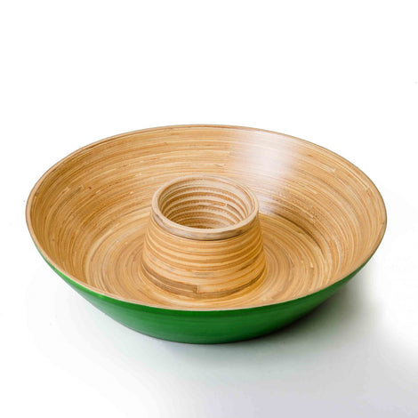Green Bamboo Chips & Dip Serving Platter