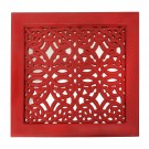 Fretwork Wall Art: Red (Set Of 3)