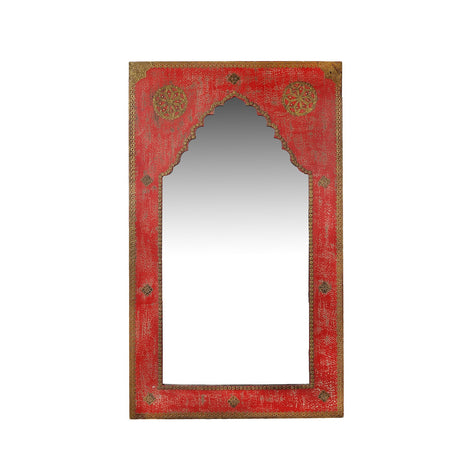 Red Mirror With Brass Detailing
