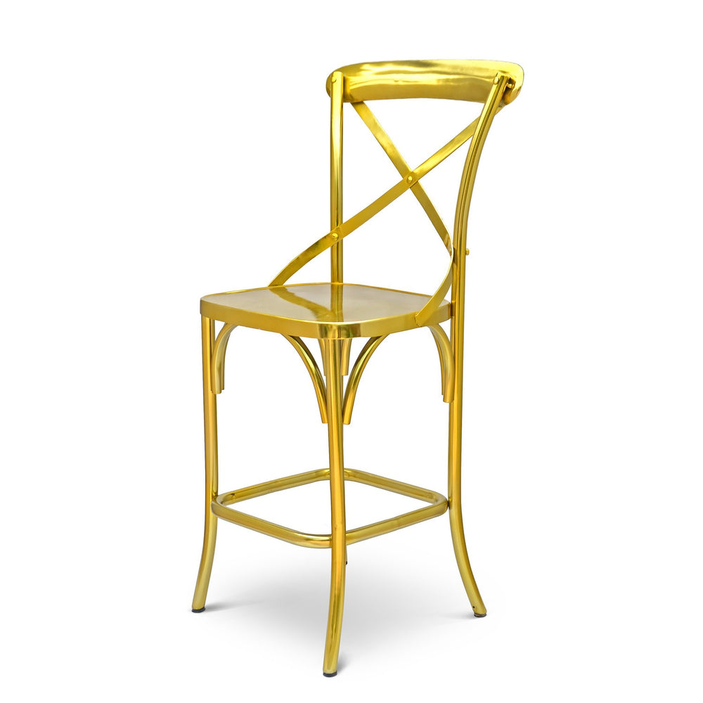 X-Back Bar Chair: Steel Gold
