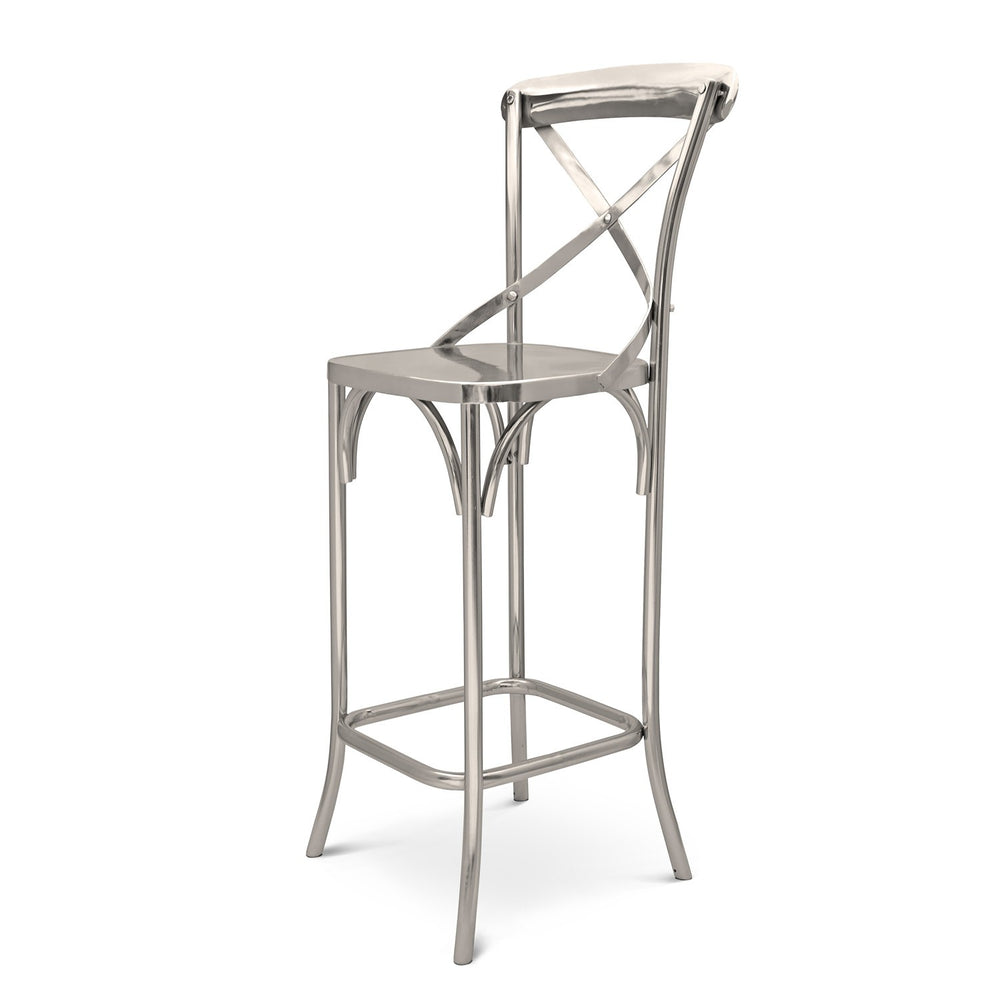 X-Back Bar Chair: Steel Silver