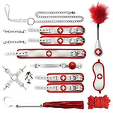 Soft Leather Beautiful Dress Costume Accessory Hand kit 11 PCs Set(White+Red) - Sinful Sensual Dimensions