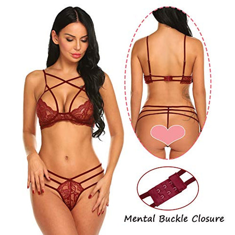 Sexy Strappy Lingerie Set Lace Lingerie 2 Piece Bra and Panty Set Halter Underwear