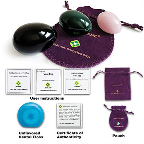 Kegel Muscle Training Eggs 3-pcs Set with 3 Sizes and 3 Gemstones, with Unwaxed Thread & Instructions, Made of Nephrite Jade, Rose Quartz and Obsidian, for Pelvic Floor Muscles Training, Polar Jade - Sinful Sensual Dimensions