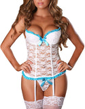 EVAbaby Plus Size Sexy Corset Garter Belt Lingerie Set for Women Exotic Floral Lace Camisole Sleepwear