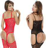 Fishnet Bodystockings Striped Lingerie Crotchless Bodysuits - Plus Size
