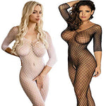 LOVELYBOBO 2 Pack Womens Plus Size Fishnet Bodystockings Striped Lingerie Crotchless Bodysuits Tights Suspenders - Sinful Sensual Dimensions